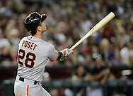PHOENIX, AZ - JUNE 08:  Buster Posey #28 of the San Francisco Giants hits a two run home run against the Arizona Diamondbacks in the fourth inning at Chase Field on June 8, 2013 in Phoenix, Arizona.  (Photo by Jennifer Stewart/Getty Images) *** Local Caption *** Buster Posey