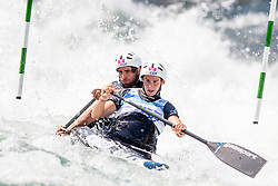 Gauthier Klauss and Matthieu Peche of France during Canoe (C2) Man final race at ICF Canoe Slalom World Cup Sloka 2013, on August 18, 2013, in Tacen, Ljubljana, Slovenia. (Photo by Urban Urbanc / Sportida.com)