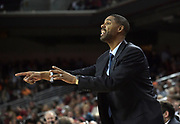 Dec 19, 2017; Los Angeles, CA, USA; Southern California Trojans assistant coach Jason Hart reacts during an NCAA basketball game against the Princeton Tigers at Galen Center. Princeton defeated USC 103-93 in overtime.