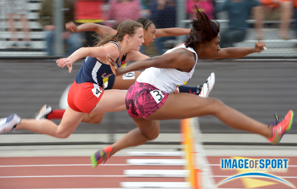 Apr 12, 2014; Arcadia, CA, USA; Jaela Williams of Eleanor Roosevelt (3) defeats Morganne Hill of Liberty (4) to win the girls seeded 100m hurdles in a wind-aided 13.97 in the 47th Arcadia Invitational at Arcadia High.