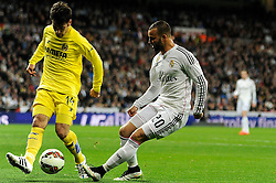01.03.2015, Estadio Santiago Bernabeu, Madrid, ESP, Primera Division, Real Madrid vs FC Villarreal, 25. Runde, im Bild Real Madrid´s Jese Rodriguez and Villarreal CF´s Manuel Trigueros // during the Spanish Primera Division 25th round match between Real Madrid CF and Villarreal at the Estadio Santiago Bernabeu in Madrid, Spain on 2015/03/01. EXPA Pictures © 2015, PhotoCredit: EXPA/ Alterphotos/ Luis Fernandez<br /> <br /> *****ATTENTION - OUT of ESP, SUI*****