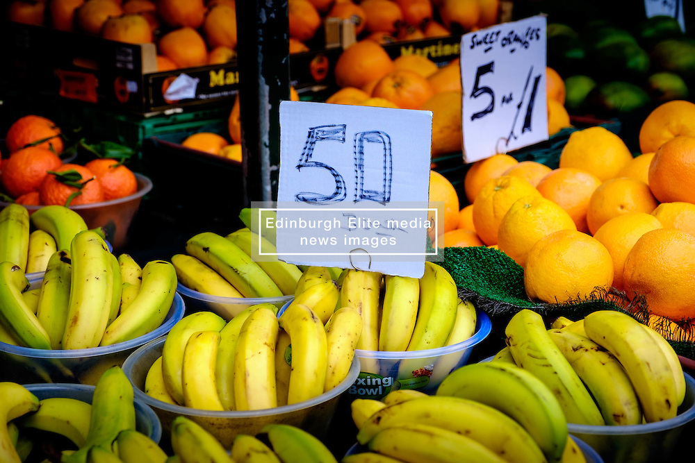 Fresh fruit for sale on a stall in the Bullring Street Market in Birmingham, England, UK<br /> <br /> (c) Andrew Wilson   Edinburgh Elite media