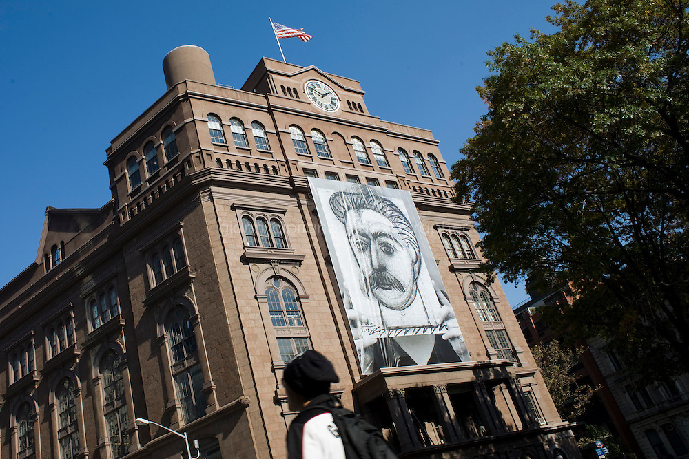 27 October, 2008. New York. A giant banner of Picasso's portrait of Stalin hangs from the Cooper Union building. The banner, Stalin by Picasso or Portrait of Woman with Moustache, is the centerpiece of a new solo exhibition by Norwegian artist Lene Berg that explores the relationship between art and politics.<br /> <br /> &copy;2008 Gianni Cipriano for The New York Times<br /> cell. +1 646 465 2168 (USA)<br /> cell. +1 328 567 7923 (Italy)<br /> gianni@giannicipriano.com<br /> www.giannicipriano.com