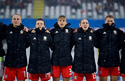 CESENA, ITALY - Tuesday, January 22, 2019: Wales players line-up before the International Friendly between Italy and Wales at the Stadio Dino Manuzzi. Elise Hughes, Hayley Ladd, Gemma Evans, Cori Williams, Emma Jones, Angharad James. (Pic by David Rawcliffe/Propaganda)