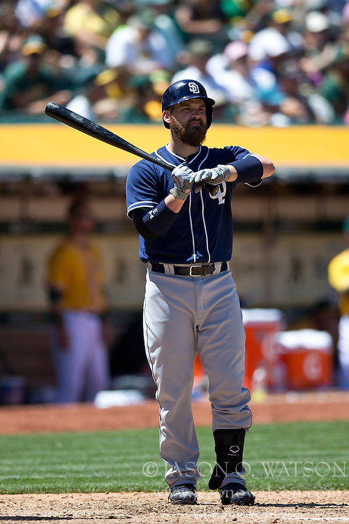 OAKLAND, CA - JUNE 18:  Derek Norris #3 of the San Diego Padres at bat against the Oakland Athletics during the eighth inning at O.co Coliseum on June 18, 2015 in Oakland, California. The San Diego Padres defeated the Oakland Athletics 3-1. (Photo by Jason O. Watson/Getty Images) *** Local Caption *** Derek Norris
