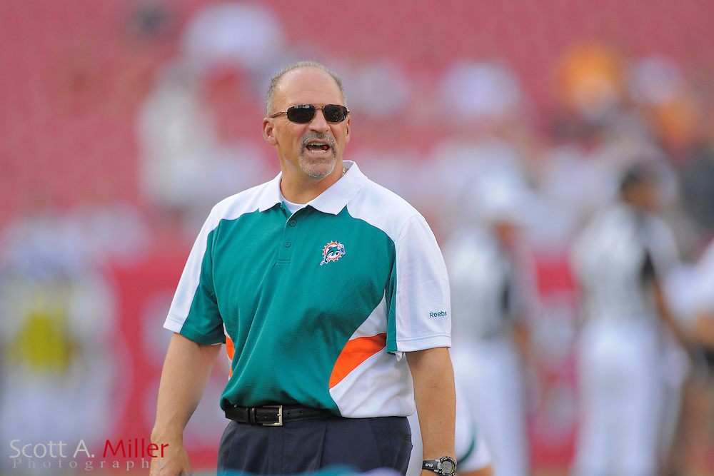Miami Dolphins head coach Tony Sparano during the Dolphins against the Tampa Bay Buccaneers at Raymond James Stadium on Aug. 27, 2011 in Tampa, Fla...(SPECIAL TO FOX SPORTS.COM/Scott A. Miller)