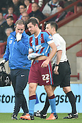 Tom Hopper of Scunthorpe United  taken off with injury during the Sky Bet League 1 match between Scunthorpe United and Barnsley at Glanford Park, Scunthorpe, England on 31 October 2015. Photo by Ian Lyall.