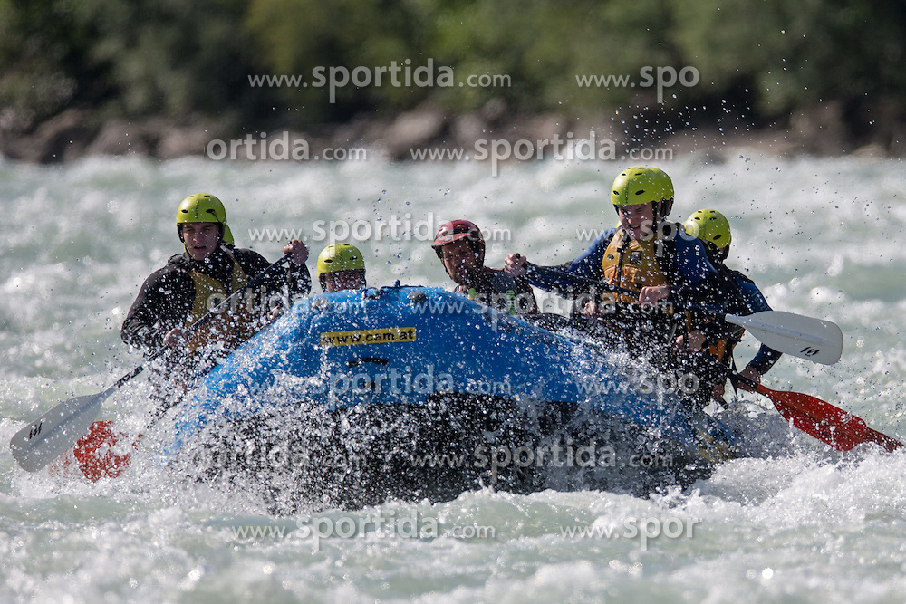 14.07.2015, Ainet, AUT, Eishockey Cracks bei Raftingtour auf der Isel, im Bild Boot eins mit Spielern der EBEL // Hockey Cracks during a rafting tour on the East Tyrolean glacial river Isel Ainet, Austria on 2015/07/14. EXPA Pictures © 2015, PhotoCredit: EXPA/ Johann Groder