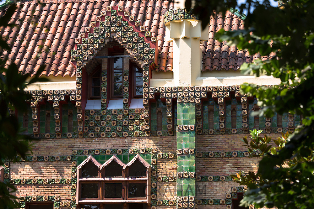 Tourist attraction El Capricho de Gaudi (The Caprice Villa Quijano) at Comillas in Cantabria, Northern Spain