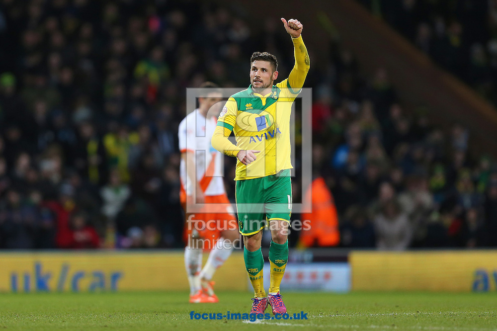 Gary Hooper of Norwich City celebrates after scoring the third goal and completing his hat-trick during the Sky Bet Championship match against Blackpool at Carrow Road, Norwich<br /> Picture by Richard Calver/Focus Images Ltd +447792 981244<br /> 07/02/2015