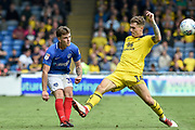 Portsmouth Midfielder, Ben Thompson (32) gets in a cross during the EFL Sky Bet League 1 match between Portsmouth and Oxford United at Fratton Park, Portsmouth, England on 18 August 2018.