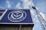 Floodlights outside the ground Fratton Park during the EFL Sky Bet League 1 match between Portsmouth and Sunderland at Fratton Park, Portsmouth, England on 22 December 2018.