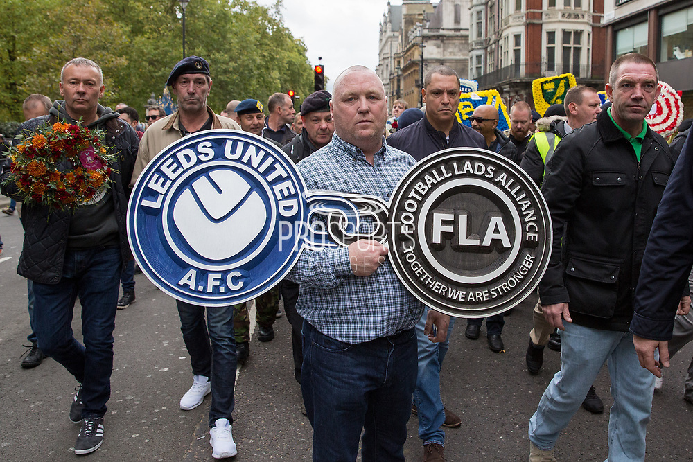 Leeds United banner during the Football Lads Alliance march between Park Lane and Westminster Bridge, London on 7 October 2017. Photo by Phil Duncan.