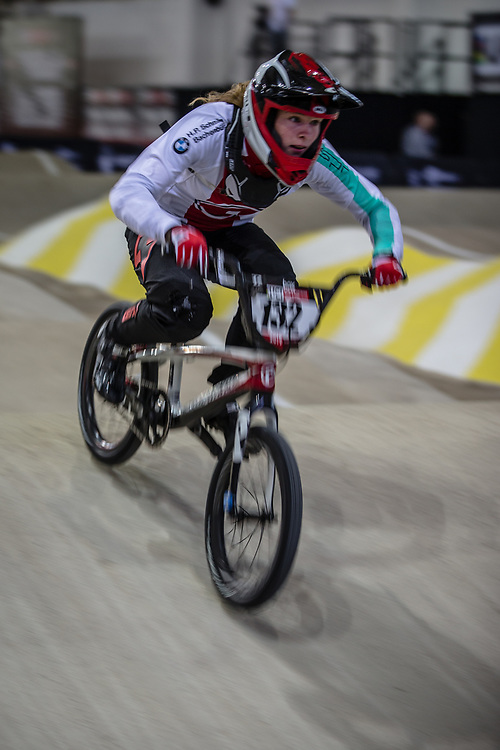 #132 (CLAESSENS Zoe) SUI during practice at the 2019 UCI BMX Supercross World Cup in Manchester, Great Britain