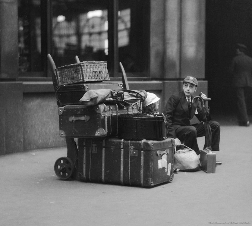 Schoolboy with Luggage at Waterloo Station, London, 1933
