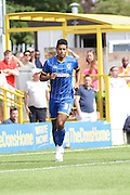 Kyle Taylor and Ben Elliott celebrate during the Pre-Season Friendly match between AFC Wimbledon and Millwall at the Cherry Red Records Stadium, Kingston, England on 18 July 2015. Photo by Stuart Butcher.