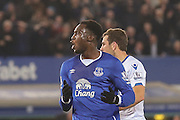 Everton forward Romelu Lukaku  shot goes just wide  during the Barclays Premier League match between Everton and Crystal Palace at Goodison Park, Liverpool, England on 7 December 2015. Photo by Simon Davies.