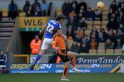 Ipswich Town midfielder Jonathan Douglas beats Wolverhampton Wanderers striker Adam Le Fondre to a header during the Sky Bet Championship match between Wolverhampton Wanderers and Ipswich Town at Molineux, Wolverhampton, England on 2 April 2016. Photo by Alan Franklin.