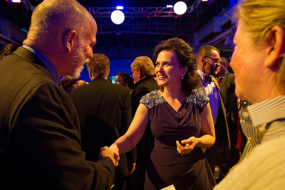 Minneapolis Mayor Betsy Hodges greets supporter Lester Rivers during her inauguration party at the historic Thorp Building in Northeast Minneapolis, Saturday, January 11, 2014.