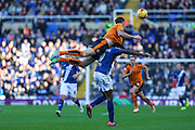 Wolverhampton Wanderers Mike Williamson climbs all over Birmingham City's Clayton Donaldson during the Sky Bet Championship match between Birmingham City and Wolverhampton Wanderers at St Andrews, Birmingham, England on 31 October 2015. Photo by Shane Healey.