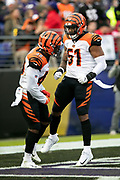 Cincinnati Bengals defensive back Brandon Wilson (40) celebrates in the end zone with Cincinnati Bengals outside linebacker Vincent Rey (57) after Wilson tackles Baltimore Ravens wide receiver Chris Moore (10) at the Ravens 9 yard line on a kick return during the NFL week 11 regular season football game against the Baltimore Ravens on Sunday, Nov. 18, 2018 in Baltimore. The Ravens won the game 24-21. (©Paul Anthony Spinelli)