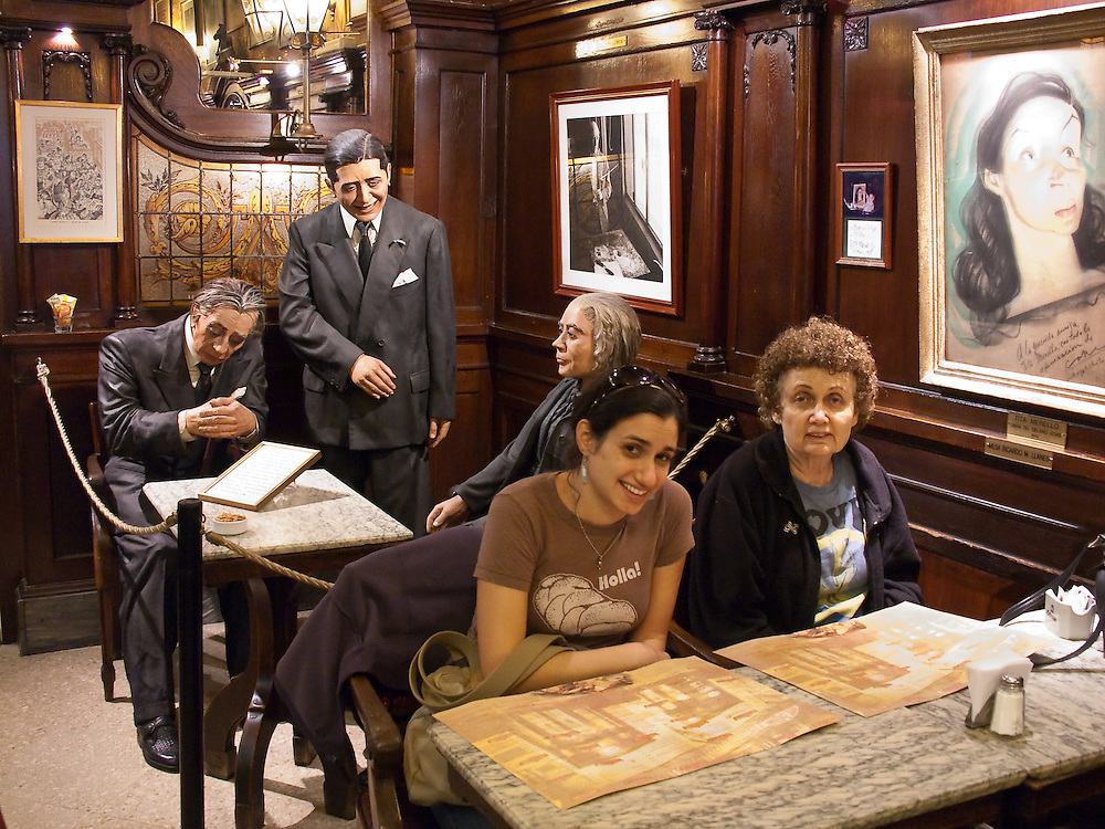 Look who is behind us: Jorge Luis Borges, (Argentina's famous author), Carlos Gardel (the tango idol) and Alfonsina Storni (Argentina's national poet). Cafe Tortoni, which opened in 1858, was their usual meeting place.