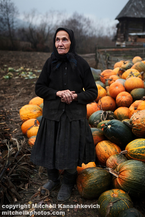 Elderly Romanian woman stands outside her house next to a pile of pumpkins. Maramures, Romania