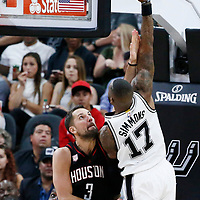 03 May 2017: San Antonio Spurs guard Jonathon Simmons (17) goes for the baby hook over Houston Rockets forward Ryan Anderson (3) during the San Antonio Spurs 121-96 victory over the Houston Rockets, in game 2 of the Western Conference Semi Finals, at the AT&T Center, San Antonio, Texas, USA.