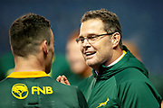 South Africa head coach, Rassie Erasmus at the final whistle of the Autumn Test match between Scotland and South Africa at the BT Murrayfield Stadium, Edinburgh, Scotland on 17 November 2018.