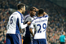 Brown Ideye of West Brom (C) celebrates with Joleon Lescott and Stephane Sessegnon scoring a goal to make it 1-0 - Photo mandatory by-line: Rogan Thomson/JMP - 07966 386802 - 11/02/2015 - SPORT - FOOTBALL - West Bromwich, England - The Hawthorns - West Bromwich Albion v Swansea City - Barclays Premier League.