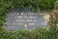 31 August 2017:   Veterans graves in Dawson Cemetery in eastern McLean County.<br /> <br /> Lyle E Stranger  Staff Sergeant  US Army  World War II  Feb 27 1912  May 1 1985