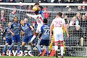Charlton Athletic midfielder Joe Aribo(17) gets his head to the ball in front of Milton Keynes Dons striker Kieran Agard (14) during the EFL Sky Bet League 1 match between Milton Keynes Dons and Charlton Athletic at stadium:mk, Milton Keynes, England on 17 February 2018. Picture by Dennis Goodwin.