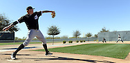 GLENDALE, ARIZONA - FEBRUARY 24:  Mat Latos #38 of the Chicago White Sox warms up in the bullpen during spring training workouts on February 24, 2015 at Camelback Ranch in Glendale Arizona.  (Photo by Ron Vesely)    Subject:  Mat Latos