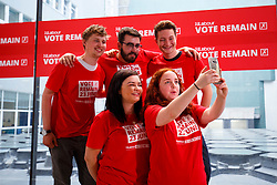 © Licensed to London News Pictures. 14/06/2016. London, UK. Labour volunteers pose for a selfie before Jeremy Corbyn speak on NHS and the EU at TUC Conference Centre in London on 14 June 2016. Photo credit: Tolga Akmen/LNP