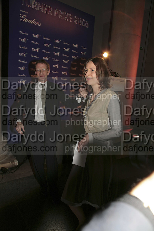 Sir Nicholas Serota and Tomma Abts, Turner Prize 2006. Tate Gallery. London. 4 December 2006. ONE TIME USE ONLY - DO NOT ARCHIVE  © Copyright Photograph by Dafydd Jones 248 CLAPHAM PARK RD. LONDON SW90PZ.  Tel 020 7733 0108 www.dafjones.com