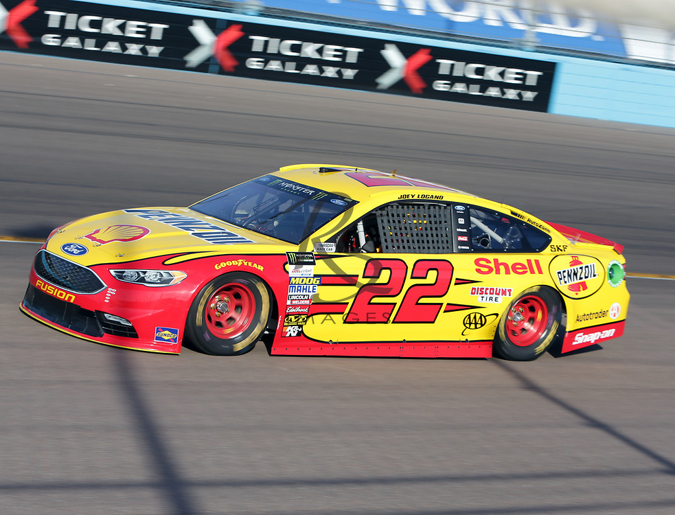 Joey Logano wins the pole for Sunday's NASCAR Cup Series auto race on Friday, March 17, 2017, in Avondale, Ariz.  (AP Photo/Rick Scuteri)
