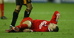 WOLVERHAMPTON, ENGLAND - Wednesday, January 21st, 2004: Liverpool's Bruno Cheyrou lies injured on the pitch against Wolverhampton Wanderers during the Premiership match at Molineux. (Pic by David Rawcliffe/Propaganda)