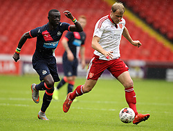 Sheffield United's Jay McEveley is chased down by Newcastle United's Papiss Cisse - Mandatory by-line: Robbie Stephenson/JMP - 26/07/2015 - SPORT - FOOTBALL - Sheffield,England - Bramall Lane - Sheffield United v Newcastle United - Pre-Season Friendly