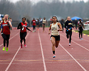 The team from Rush-Henrietta wins the 4x100-meter relay at the His and Her track and field invitational at Penfield High School on Saturday, April 26, 2014.