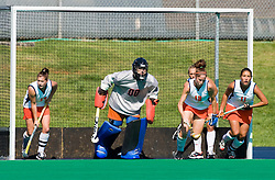 Virginia Cavaliers goalkeeper Amy Desjadon (0), Virginia Cavaliers midfielder Lucy Meyers (17), Virginia Cavaliers Lauren Elstein (12), and Virginia Cavaliers Inge Kaars Sijpesteijn (11) line up for a UMD corner.  The #1 ranked Maryland Terrapins defeated the #10 ranked Virginia Cavaliers 4-3 in overtime in NCAA Field Hockey at the Turf Field on the Grounds of the University of Virginia in Charlottesville, VA on October 4, 2008.