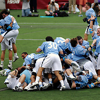 28 May 2007:  The Johns Hopkins University Blue Jays lacrosse team celebrate their 12-11 win over the Duke University Blue Devils in the NCAA Division I Lacrosse Championship game at M&T Bank Stadium in Baltimore, Md.