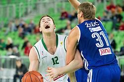 Aron John Baynes of Union Olimpija vs Marko Arapovic of Cibona during basketball match between KK Union Olimpija Ljubljana and KK Cibona Zagreb (CRO) in 11th Round of ABA League 2012/13 on December 2, 2012 in Arena Stozice, Ljubljana, Slovenia. Union Olimpija defeated Cibona 87-82. (Photo By Vid Ponikvar / Sportida)