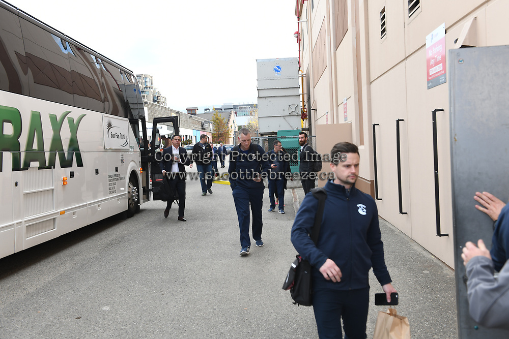 KELOWNA, BC - SEPTEMBER 29: The Vancouver Canucks' arrive at Prospera Place to play a preseason game against the Arizona Coyotes on September 29, 2018 in Kelowna, Canada. (Photo by Marissa Baecker/NHLI via Getty Images)  *** Local Caption ***