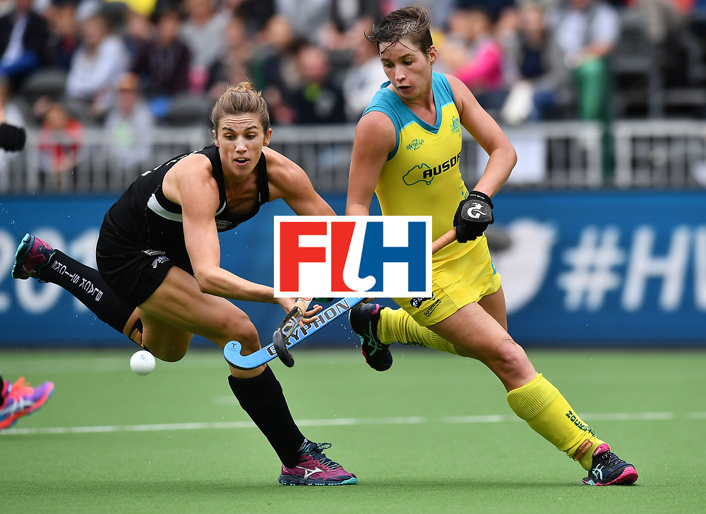 BRUSSELS, BELGIUM - JUNE 24: Brooke Neal (L) of New Zealand and Kathryn Slattery (R) of Australia during the FINTRO Women's Hockey World League Semi-Final Pool B game between New Zealand and Australia on June 24, 2017 in Brussels, Belgium. (Photo by Charles McQuillan/Getty Images for FIH)