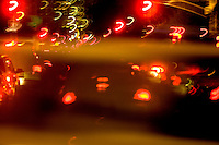 Blurred traffic lights through a taxi on Park Avenue, New York City