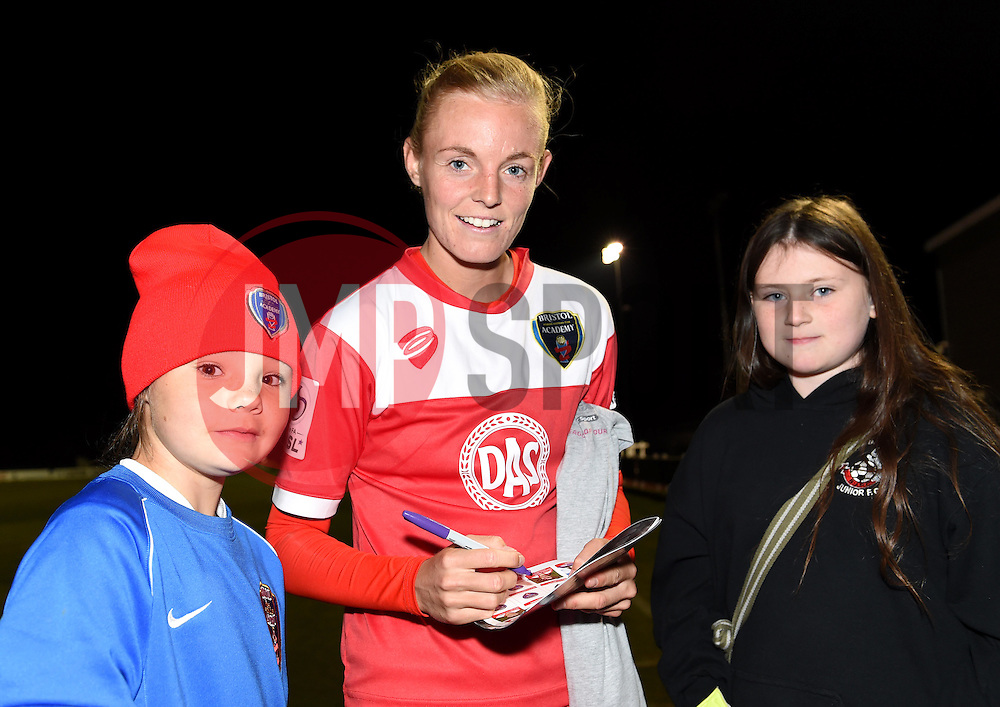Sophie Ingle of Bristol Academy Women poses with supporters - Mandatory by-line: Paul Knight/JMP - Mobile: 07966 386802 - 04/10/2015 -  FOOTBALL - Stoke Gifford Stadium - Bristol, England -  Bristol Academy Women v Liverpool Ladies FC - FA Women's Super League