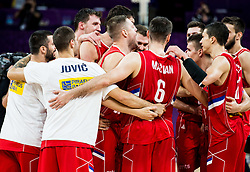 Players of Serbia celebrate after winning during basketball match between National Teams of Russia and Serbia at Day 16 in Semifinal of the FIBA EuroBasket 2017 at Sinan Erdem Dome in Istanbul, Turkey on September 15, 2017. Photo by Vid Ponikvar / Sportida