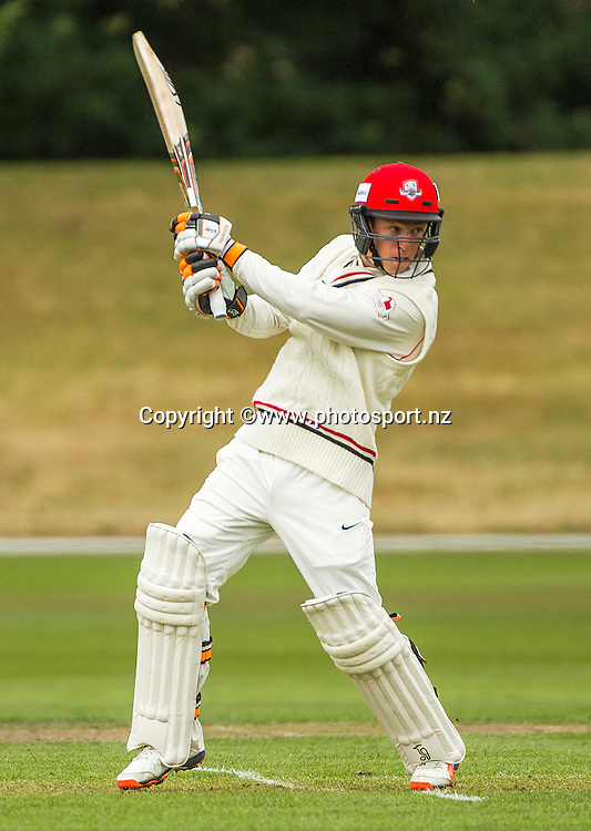 Leo Cater of Canterbury batting in the Plunket Shield cricket game between Canterbury v Central Districts at Mainpower Oval, Rangiora. 17 December 2015. Photo: Joseph Johnson / www.photosport.nz