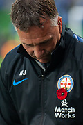 MELBOURNE, VIC - NOVEMBER 09: Melbourne City head coach Warren Joyce pre-kick off at the Hyundai A-League Round 4 soccer match between Melbourne City FC and Wellington Phoenix on November 09, 2018 at AAMI Park in Melbourne, Australia. (Photo by Speed Media/Icon Sportswire)