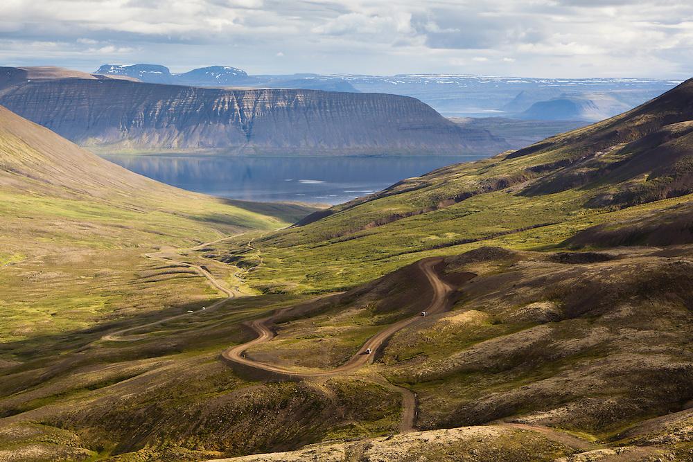 Curvy road down Geldingadalur